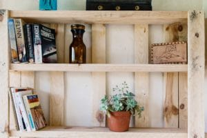 bookcase made of wood pallets with books, a brown vase and a perennial plant