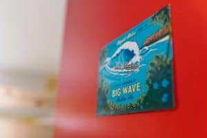 "hawaiian beer dorm name ""big wave"": tropical blue door plate on a red door"