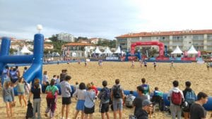Rugby players during beach rugby festival, sables d'or beach in anglet