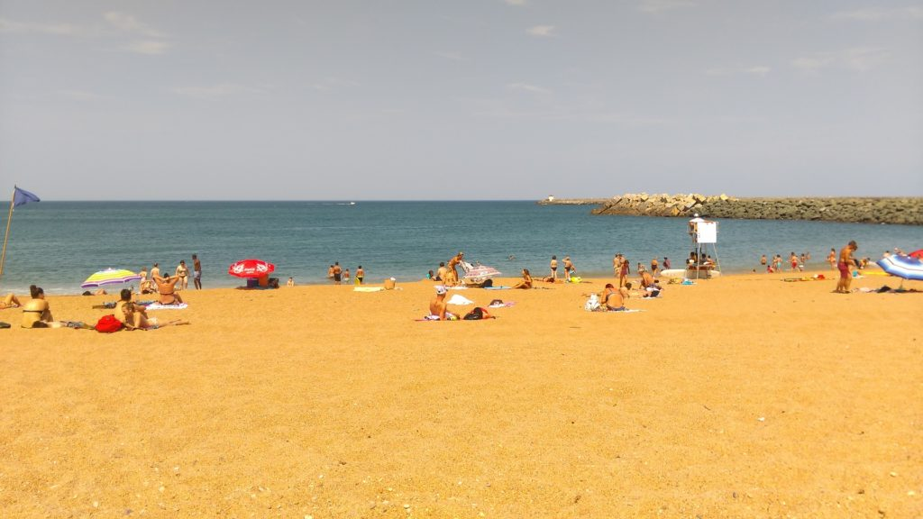 families enjoying the beach on a sunny day
