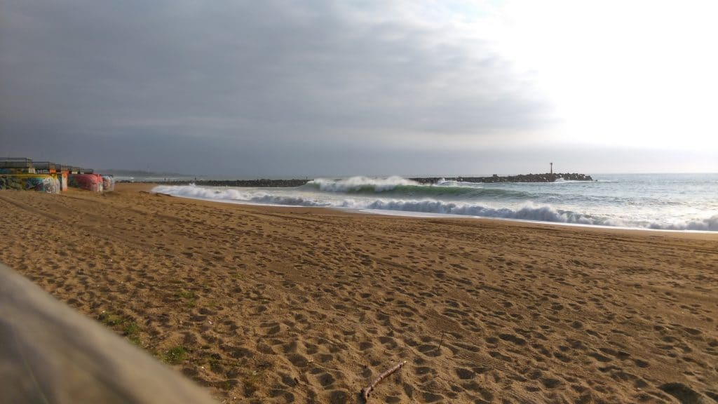 bunkers and big waves at la Barre beach in Anglet