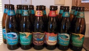 hawaiian beers bottles: castaway, fire rock, longboard, big wave