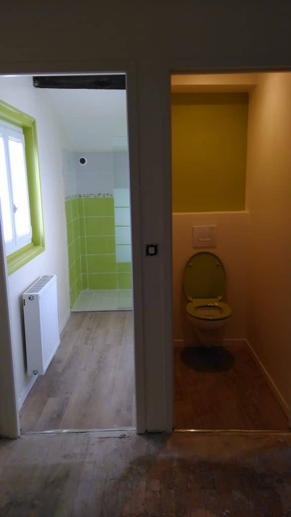 new-built green bathroom and toilet of nami house hostel