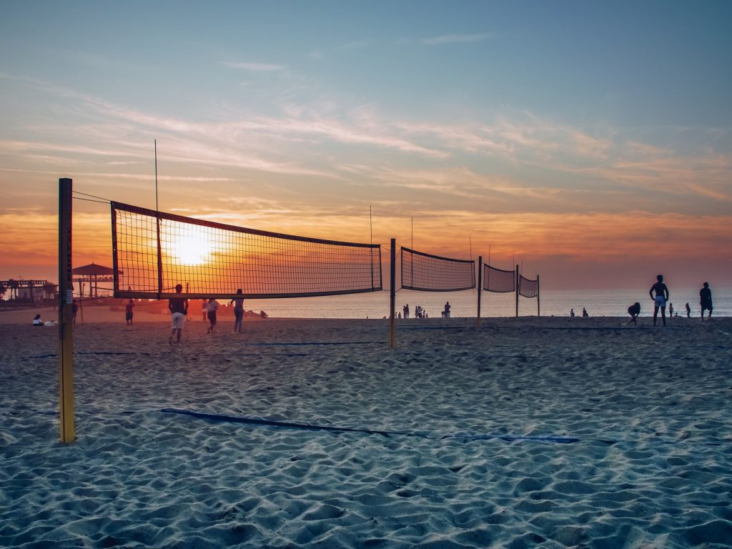 Volleyball nets on the beach in Anglet at sunset