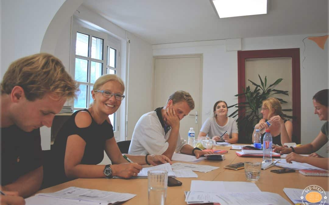 group of students learning French at sofi64 in Anglet